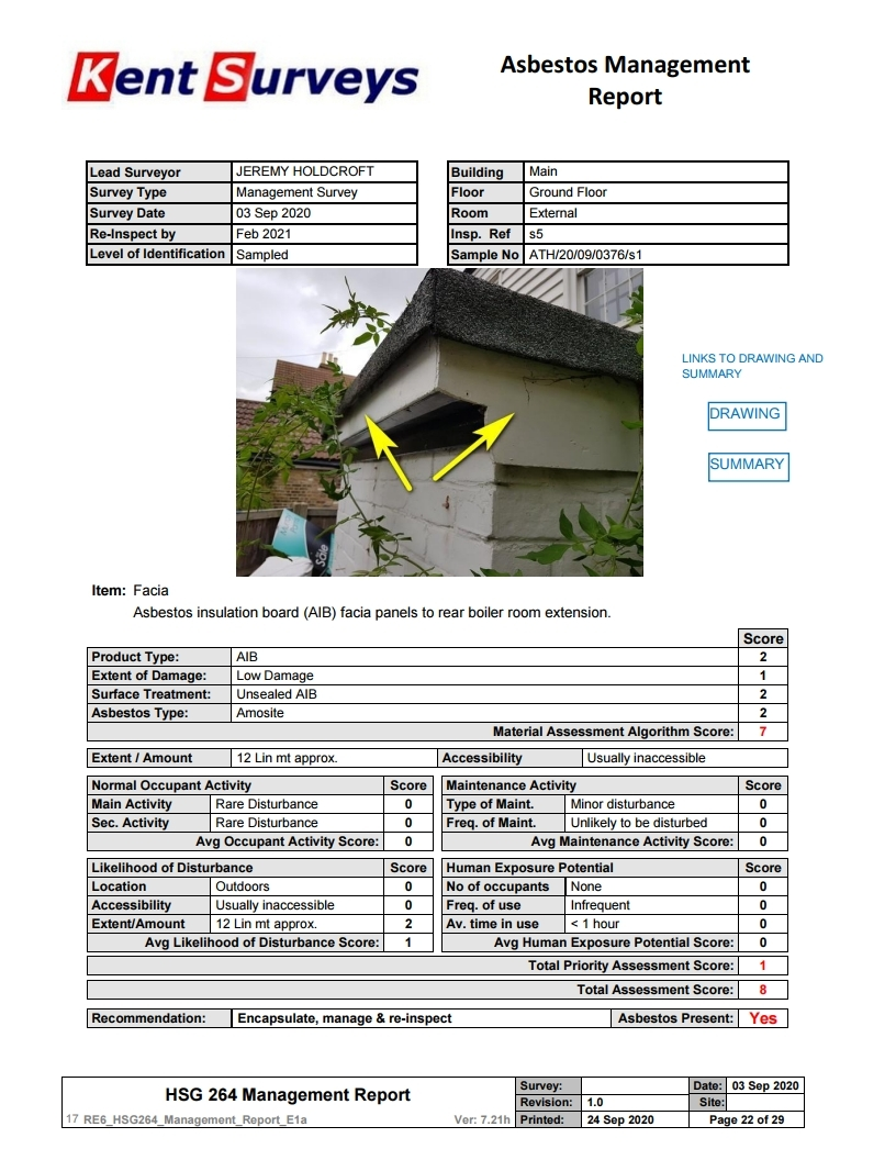asbestos survey sample page